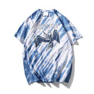 Led roca camiseta de manga corta del tinte del lazo de los hombres de Hip Hop camisetas de cuello redondo para hombre T-shirts