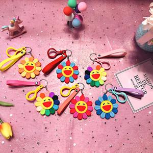 Takashi Smile Sun Flower llavero pegamento suave llavero bolsa y teléfono móvil colgante 6 estilo