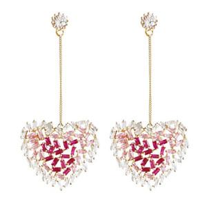 Sparkling Love Heart Earring Pendientes largos del diseñador del zircón con incrustaciones para las mujeres Regalo del banquete de boda Joyería de lujo