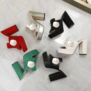 Designer de Verão mulheres de salto alto chinelos moda preguiçoso Suede-flops 100% couro de senhora luxuosa Sandals metal mais grossa calcanhar Metade chinelo 35-42