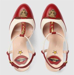 Sıcak Satış-Yeni Avrupa Amerikalı moda toka 16cm topuklu 6cm platformu renk perçin seksi kırmızı dudaklar topuklu sandaletler
