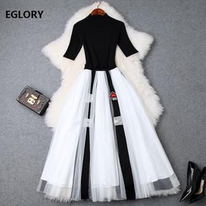 Completo da donna Suit 2019 Summer Autumn Fashion Suit Skirt da donna Pullover nero lavorato a maglia di alta qualità + Beading Long Maxi Set gonna