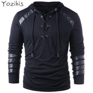 Yozihis мужская мода искусственная кожа зашнуровать Толстовка для бойфренда новый стиль шнурок толстовка пуловер толстовка с длинными рукавами V191105