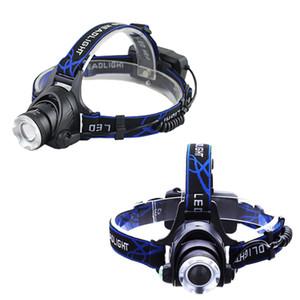 LED far balıkçılık far şarj edilebilir T6 / 3 modları Zoom objektifi lamba su geçirmez Başkanı Meşalesi Kafa lambası 18650 pil kullanın feneri