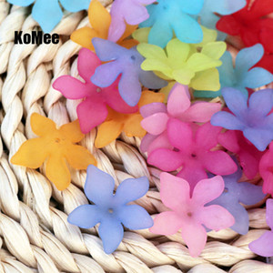 Hot Sale 200pcs lot 28mm Multicolors Acrylic Frosted Flower Beads Caps For Jewelry Making Favor Acrylic Necklace Craft DIY Beads