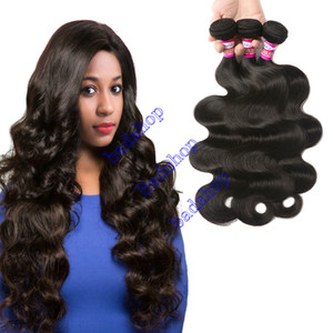 9A Grado peruana Virgen del pelo onda del cuerpo sin transformar Mink peruana de Malasia Remy del indio del cabello humano de la armadura de lotes de 3 Piezas