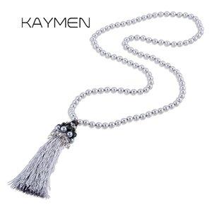 KAYMEN perles d'imitation brins longues chaînes avec glands à la main pendentif collier pour filles Style Bohême pendentif en cristal 4074