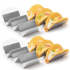 4pcs / set Acciaio inossidabile Taco basamento del supporto cibo messicano Taco Vassoio attrezzo della cucina Ristorante Cibo Mostra lavastoviglie JK2001