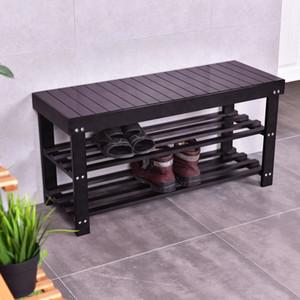 Banco de zapatos moderno Entrada Almacenamiento Almacenamiento de bambú Estante de café Estante Muebles de pasillo