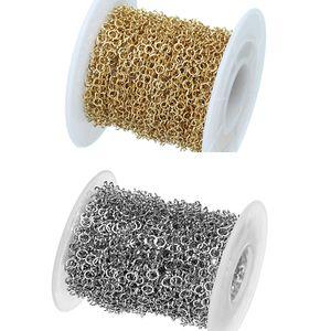10yards / rouleau 2 mm / 3 mm / 4 mm / 5 mm Largeur Argent / Or Métal en acier inoxydable à maillons pour Colliers Bracelets Making Bijoux