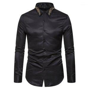 Broderie Mode manches longues pour hommes Hauts Casual Mens Apparel Solid Color Mens Designer Chemises