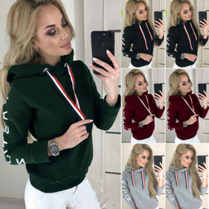 Sexy Frauen-Hoodie Pullover Crop Top-Coat Sport Pullover Tops Mode