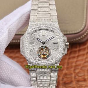 versione R8 Top 5719 / 10G-010 completamente pavimentata con diamanti Quadrante reale Tourbillon meccanico a tortuose 5711 della vigilanza di Mens orologi di marca di lusso