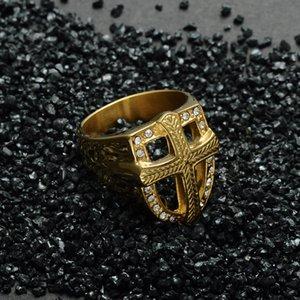 Anello Templari Croce Cavalieri Crusader alto smalto Rock gotico Punk Anello in acciaio inossidabile placcato oro Misura 8-12 a86 * 3