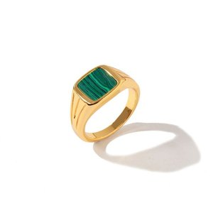 Titanium Steel Luxury Fashion New Brand Green Malachite Ring Temperament Beautiful For Women Charm Love Ring Jewelry Wholesale