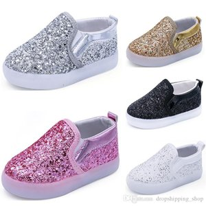 HOT Sale Kids shoes running shoes black gold silver white boys girls Cute Athletic sport sneaker size 21-30