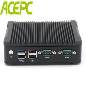Endüstriyel Mini PC Fansız Celeron J1800 J1900 Windows 10 Linux HTPC 2 * LAN 2 * COM Çift Çekirdekli HDMI VGA 2 * RJ45 USB3.0 Masaüstü