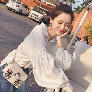 Women's Clothing Mishow Female Shirt Long Sleeve 2018 Autumn Office lady Lantern Sleeve turn down collar casual Shirt Tops Spring MX17D4546