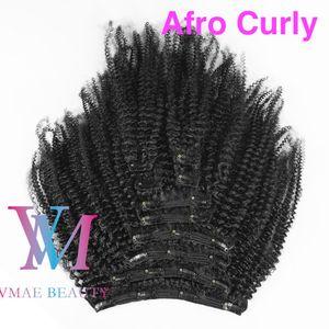 Índio não transformadas Virgem humano clip Ins 3A 3B 3C afro Kinky encaracolado 4A 4B 4C 120g Cor Natural em extensões de cabelo