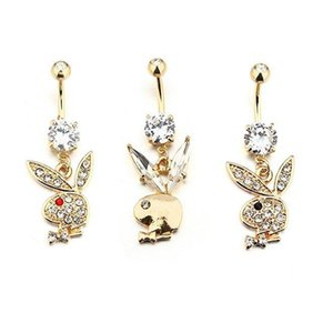 Золотой Цвет Милый Горный Хрусталь Кролик Головы Тела Ювелирные Изделия Пупка Кольца Пирсинг Пупка Кольцо