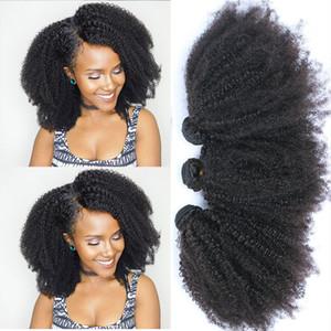 Moğol Afro Kinky Kıvırcık Paketler İnsan Saç Paketler ile Kapatma% 100 İnsan Saç Dokuma Uzantıları 4B 4C Bakire Saç EVERBEAUTY