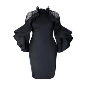 Kinikiss 2018 otoño Bodycon vestido Falbala negro Ruffle Sleeve Ladies Office vestido cremalleras elegante más tamaño vestido de fiesta de verano Y19051102