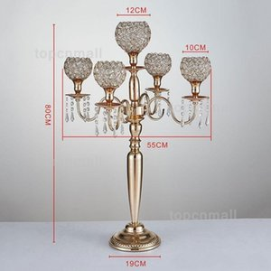 New style Candle Holders 5-arms Metal Gold  Silver Candelabras Crystal Candlestick For Wedding Event Centerpiece