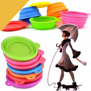 Hot sales silicone pet bowl Outdoor Travel portable Pet folding bowl Candy Color cat dog universal feeding bowl T9I00371
