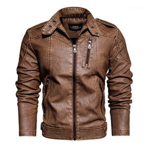 Pocket Long Sleeved Zipper Jacket with Pockets Mens Autumn Casual Pure Color Clothing Mens PU Leather Stand Collar Jackets