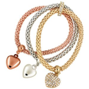 Gold Corn Chain Crystal Charms Pulseras multicapa para mujer