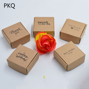 "10pcs Cardboard kraft Paper Gift Boxes ""handmade with love""Favors Crafts jewelry Wrapping Box Foldable Kraft packaging soap Box"