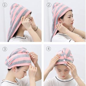 Os mais recentes microfibra Depois Toalha Chuveiro Cabelo de secagem do envoltório Womens meninas de Lady Quick Dry cabelo Hat Cap Turban Envoltório principal banho Tools