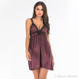 Été dentelle lambrissé femmes de nuit Fashion Designer Womens Sous-vêtements sexy solide col en V profond Nightgowns