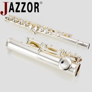 Flauta JAZZOR JBFL-6248S C FLAT 16 instrumento de viento flauta plateado blanco orificio blanco agujero