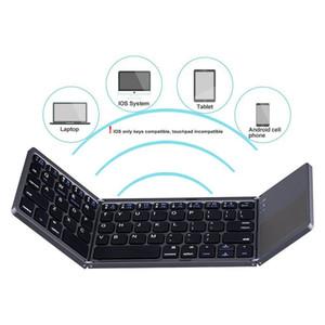 Windows Android iOS Tablet PC Smar için Touchpad Üçlü Katlama Katlanabilir Mini BT Kablosuz Klavye