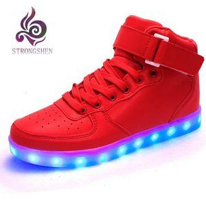 Strongshen neue usb lade kinder sneakers mode leuchtende beleuchtete bunte led-leuchten kinder schuhe beiläufige flache junge mädchen schuhe