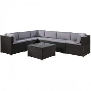 7 pezzi mobili Set per esterni sezionale Conversazione Set con morbidi cuscini