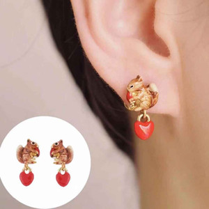 2019 Amybaby Designer Handmade Enamel Glaze 사랑스런 다람쥐 꽃 목걸이 Stud Earring Jewelry 파티 용