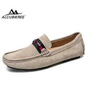 ALCUBIEREE Marka Erkekler Rasgele Penny Loafers Moda Toka Kayma-on Makosenler Erkekler Süet Deri Erkek Flats ayakkabı Sürüş Ayakkabı