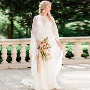 Boho Lace Wedding Dresses with Cape Wrap Long Trail Bohemian Garden Wedding Mermaid Bridal Gowns Charming Vestido De Noiva