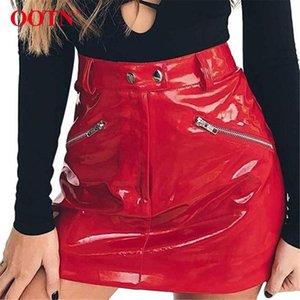 Piel OOTN Rojo PU falda metal Cremalleras Botón punk mujeres faldas cortas Streetwear Mujer Otoño Invierno 2019 Mini falda de las señoras