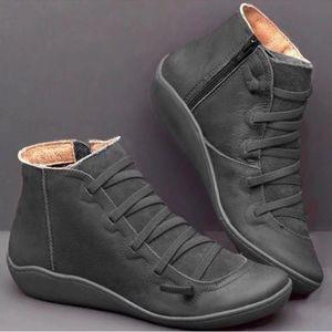 Новые женщины Snow Boots Классический черный Серый ботильоны кожи верхнего качества зимняя обувь моды кружева до Flats тренеры Большой размер 5 цветов