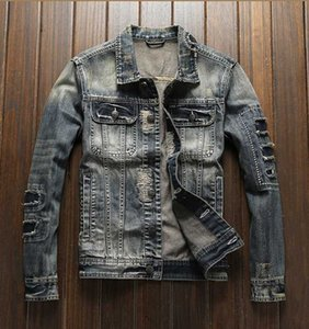 Jeans coat male street individuality Europe and the United States broken hole patch embroider thread decorates jacket jacket jac