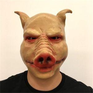Nueva llegada de Halloween cerdo de látex Mascarilla Facial máscaras de terror Puntales Pigs Head Sombrerería Fuentes del partido regalo popular de 35cs H1