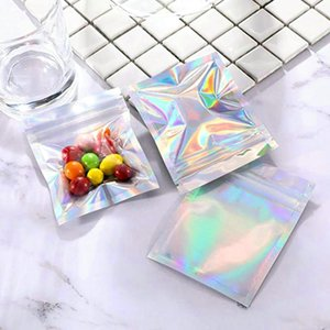 3.5x6.3in 1000pcs stand up resealable bags Holographic resealable bags Translucent Pouches designs Dress packaging bag Qixpm ZCgeM