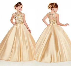 2020 Lovely Gold Girls Pageant Dresses Halter Neck A Line Beads Crystals Top Long Toddler Kids Formal Party Prom Gowns Flower Girl Wear