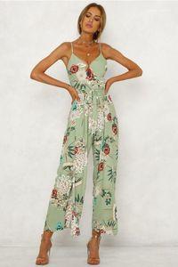 Одежда Casual WomensJumpsuit New Designer V Neck выдалбливают Пояса Цветочные Печатные Ползунки Мода Повседневная Женщины