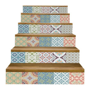 6Pcs Set DIY 3D Stairway Steps Sticker Pottery Stair Stickers Fall Floor Wall Decor Decals for Living Room Decoration