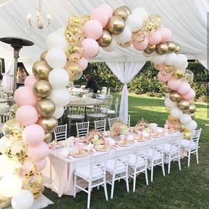 100pcs Macaron Palloncini Arch Pastello Bianco Rosa Ballon Garland Gold Metal Confetti Globos festa nuziale della sfera Baby Shower