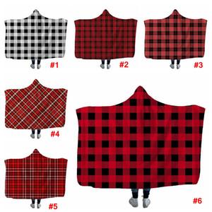 A cuadros con capucha Sherpa Manta 150 * 200cm felpa del invierno Mantón Sofá Sofá tiro Fleece Wrap Ropa Capa Envolver LJJA3373-1